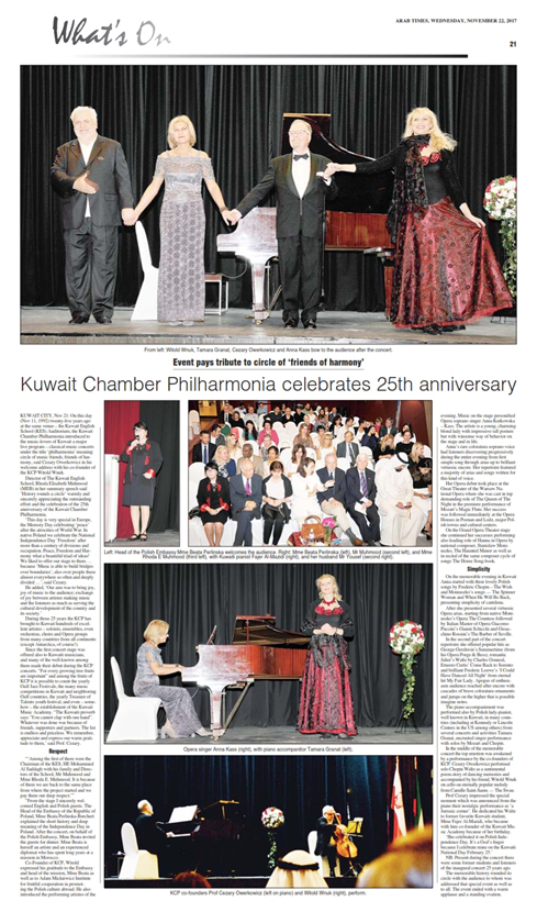 25th Anniversary of Kuwait Chamber Philharmonia Arab Times Article
